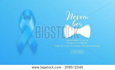 Web Banner for Prostate Cancer Awareness Month. Men Healthcare Concept Logo. Light Blue Background with Satin Ribbon and Lettering. Vector Illustration.
