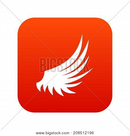 Wing icon digital red for any design isolated on white vector illustration