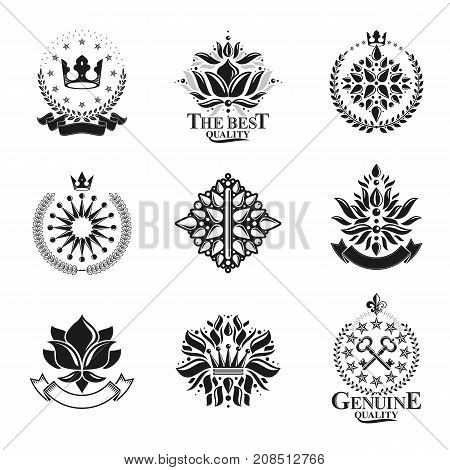 Royal symbols Flowers floral and crowns emblems set. Heraldic vector design elements collection. Retro style label heraldry logo.
