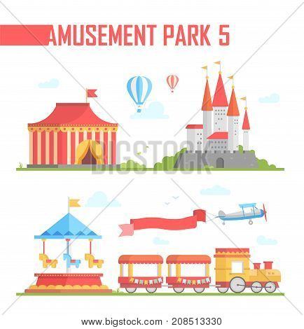 Set of amusement park elements - modern vector illustration on white background. Chapiteau, train, hot air balloons, carousels, attraction, airplane. Entertainment concept