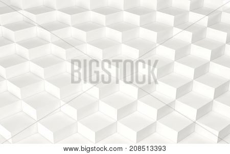 Abstract array of white shinny cubes of different height. 3d rendering