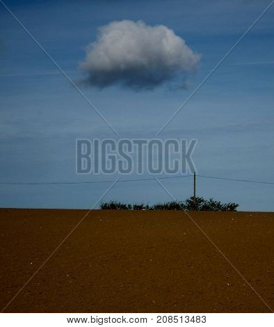 Field perimeter with scrub and a single cloud in a blue sky