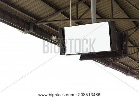 CCTV and LCD TV with white blank screen or billboard at under roof of sky train station copy space for advertising or media and content isolated on white background commercial marketing concept
