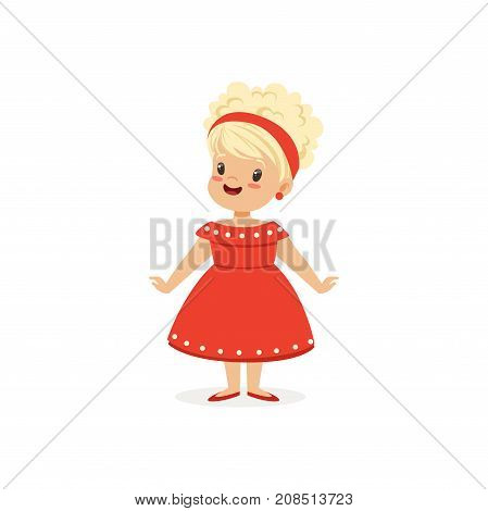 Elegant blonde little girl posing in red dress, young lady dressed up in classic retro style vector Illustration isolated on a white background