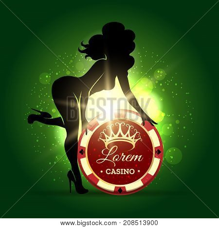 Casino Emblem template. Beautiful Woman holds gambling chip in glowing lights. Vector illustration.