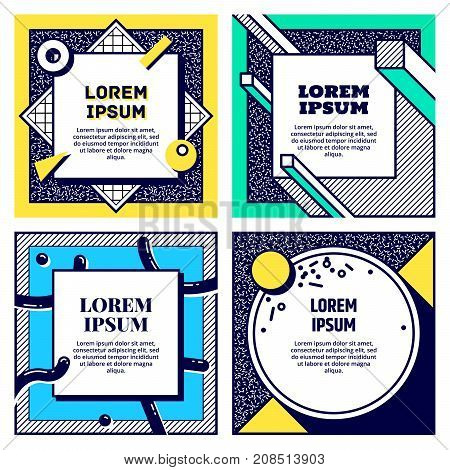 Set of cool memphis style cards. Collection of geometric flyers. Retro templates for banners, advertising, posters and greeting cards. Vector.