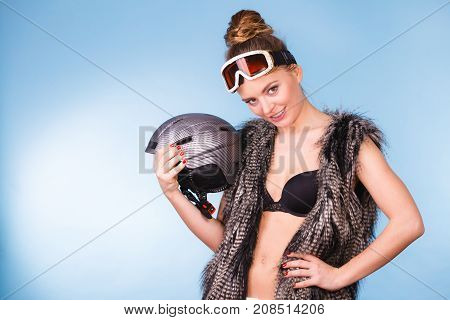 Woman Wearing Sexy Winter Sport Outfit