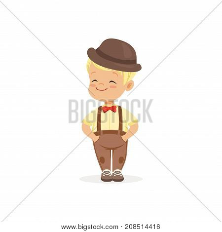 Cute little boy in bowler hat, young gentleman dressed up in classic retro style vector Illustration isolated on a white background