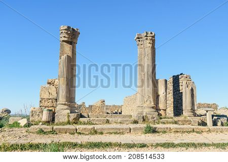 House Of Columns In Roman Ruins, Ancient Roman City Of Volubilis. Morocco
