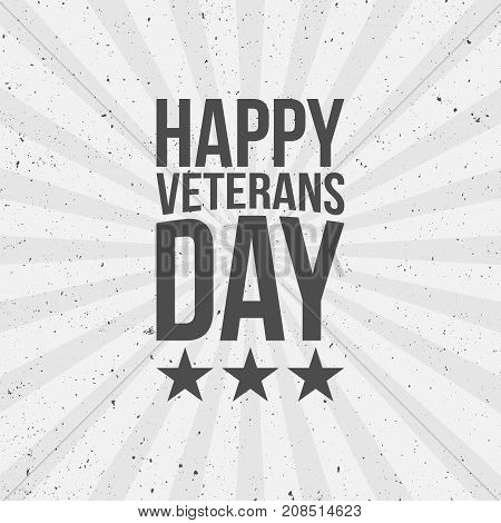 Happy Veterans Day Text on striped Background. Vector Illustration