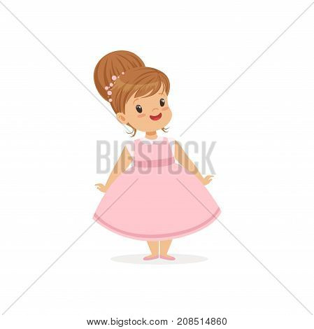 Beautiful little girl posing in pink dress, young lady dressed up in classic retro style vector Illustration isolated on a white background