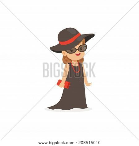Elegant little girl posing in black hat and long dress, young lady dressed up in classic retro style vector Illustration isolated on a white background