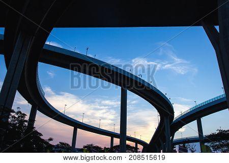Silhouette of Bhumibol Industrial ring bridge in Bangkok Thailand