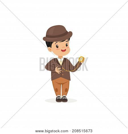 Cute little boy in tweed suit with pocket watch, young gentleman dressed up in classic retro style vector Illustration isolated on a white background