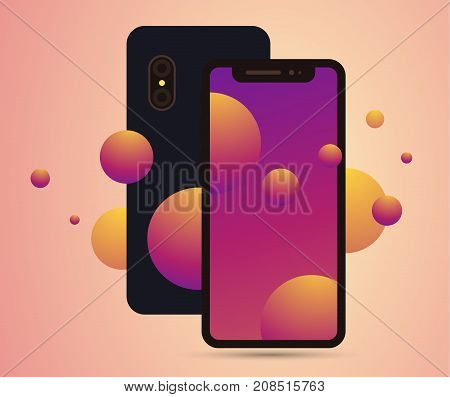 Vector Realistic Illustration Of New Mobile Phone Front And Back Side With Shadow. Smartphone Mockup