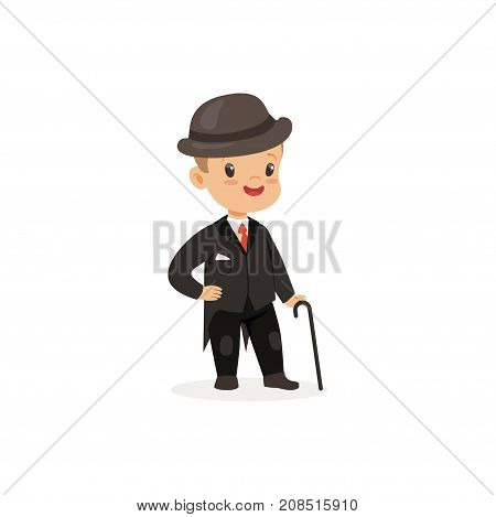 Elegant little boy in black suit with walking stick, young gentleman dressed up in classic retro style vector Illustration isolated on a white background