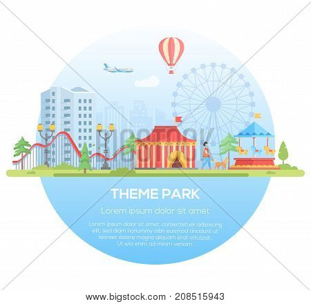 Theme park - modern flat design style vector illustration in a round frame with place for text on urban background. Cityscape with attractions, circus pavilion, big wheel. Entertainment concept
