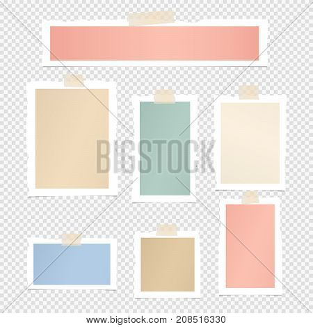 Colorful paper frame, copybook, notebook sheets for note or message stuck with sticky, adhesive tape on squared gray background