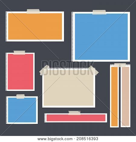 Colorful bright paper frame, copybook, notebook sheets for note or message stuck with sticky, adhesive tape on black background