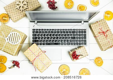 Cyber Monday - a day of discounts in online stores to buy gifts for winter holidays New Year and Christmas