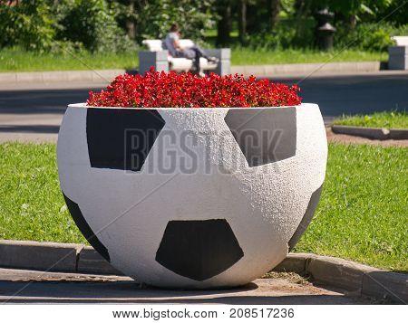 A flowerbed in a shape of footbal ball. Saint-Petersburg, Zenit Arena, summer 2017