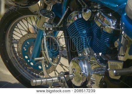 Engine Of A Custom Painted Bike