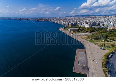 Aerial View Of The New Park And The Waterfront Of The City Thessaloniki