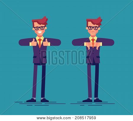 Handsome businessman is showing thumb up and thumb down. Flat vector illustration