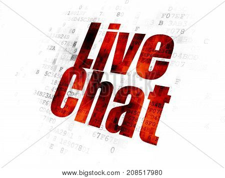 Web development concept: Pixelated red text Live Chat on Digital background