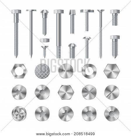 Screws nuts and rivets icons detailed vector set. Equipment stainless metalli fix gear.