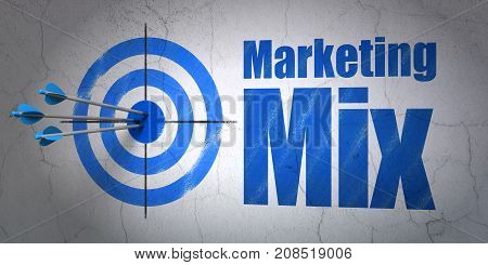 Success marketing concept: arrows hitting the center of target, Blue Marketing Mix on wall background, 3D rendering