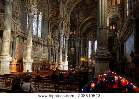 Lyon, France, October 11, 2017 : Inside The Basilica Of Fourviere. This Minor Basilica, Built With P
