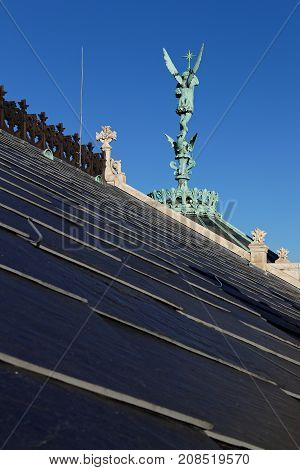 Lyon, France, October 11, 2017 : On The Roof Of The Basilica Of Fourviere. This Minor Basilica, Buil