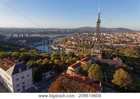 Lyon, France, October 11, 2017 : Saone River And West Districts Of The City From The Roofs Of Basili