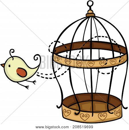Scalable vectorial image representing a bird flying from cage, isolated on white.