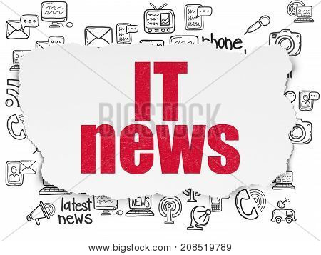 News concept: Painted red text IT News on Torn Paper background with  Hand Drawn News Icons