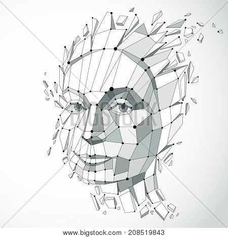 3d vector portrait created with lines mesh. Intelligence allegory Grayscale low poly face with splinters which fall apart head exploding with ideas thoughts and imagination.