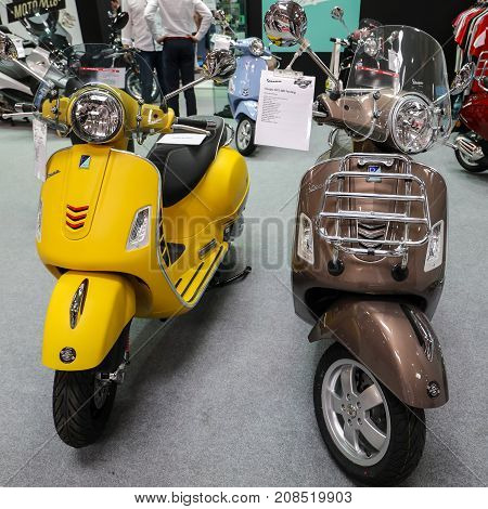 CRACOW POLAND - MAY 20 2017: Vespa scooter displayed at MOTO SHOW in Krakow. Poland. Exhibitors present most interesting aspects of the automotive industry