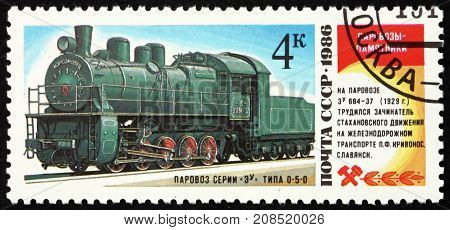 RUSSIA - CIRCA 1986: a stamp printed in the Russia shows EU 684-37 Locomotive from 1929 circa 1986