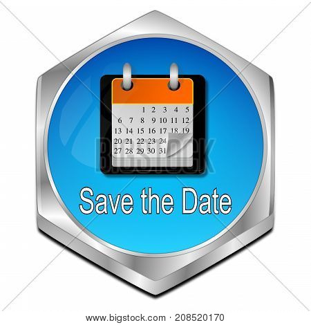 glossy blue Save the Date Button - 3D illustration