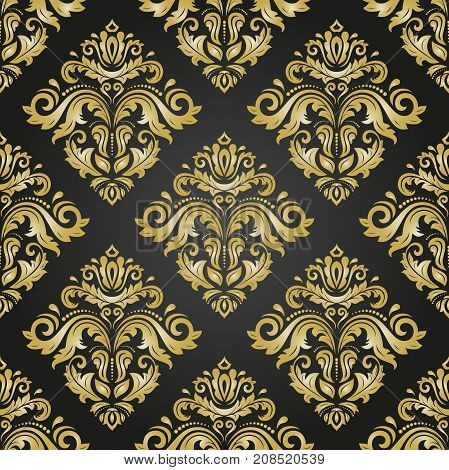 Orient vector classic black and golden pattern. Seamless abstract background with repeating elements. Orient background