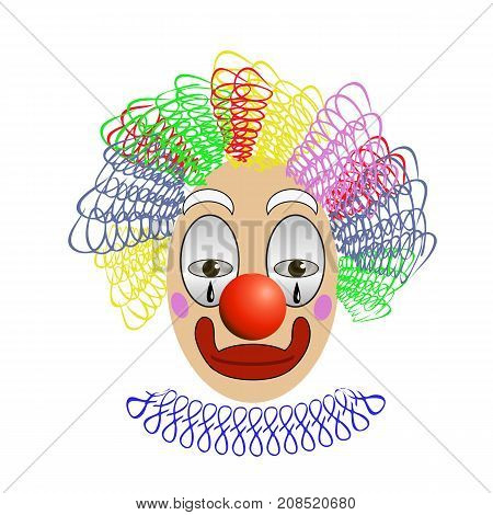 Head of Sad Clown with Colorful Hair