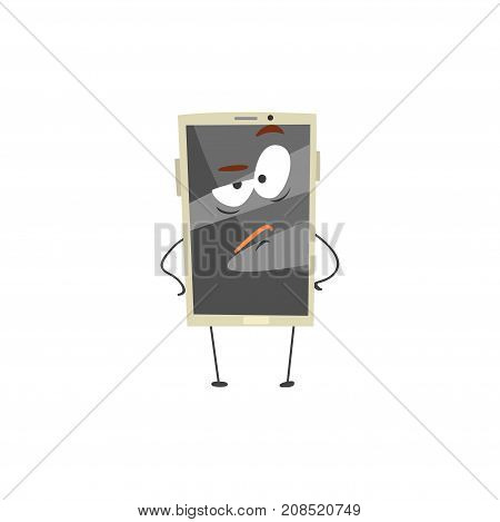 Furious smartphone character with a grey screen, arms and legs cartoon vector Illustration isolated on a white background