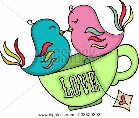 Scalable vectorial image representing a loving birds on tea cup, isolated on white.