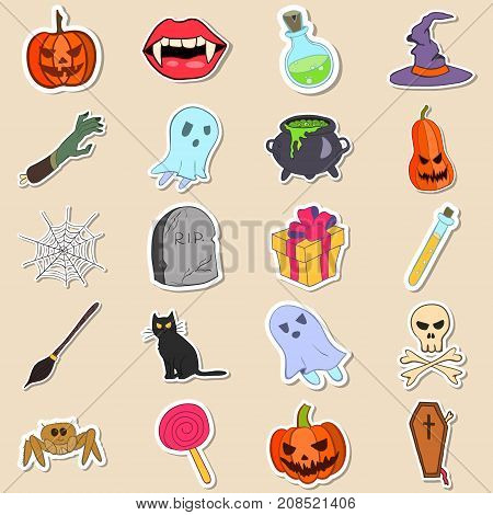 Vector stock colored doodle style Halloween stickers