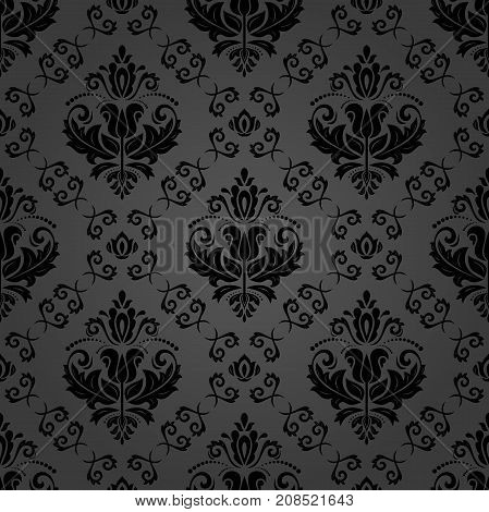 Classic seamless vector pattern. Traditional orient ornament. Classic vintage dark background