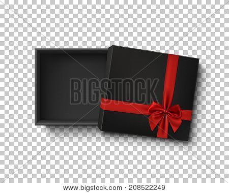 Opened black empty gift box with red ribbon and bow isolated on transparent background. Top view. Template for your presentation design, banner, brochure or poster. Vector illustration.