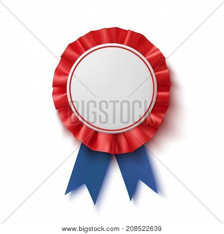 Blank badge. Realistic, blue and red label with ribbon, isolated on white background. Poster, brochure or greeting card template. Vector illustration.