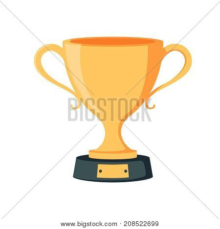 Winning cup. Symbol of success winning championship. Gold trophy. Award bowl. Vector illustration flat design. Isolated on white background. Leadership concept.