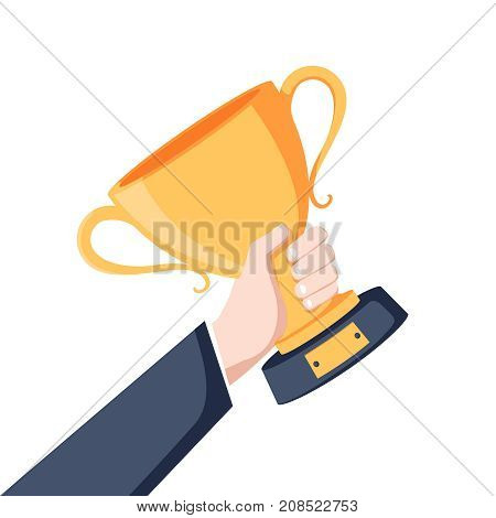 Winning cup in hand. Symbol of success winning championship. Gold trophy. Award bowl. Vector illustration flat design. Isolated on white background. Leadership concept.